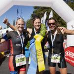 Vansbro Triathlon. Topp tre damer medeldistans. 1. Jenny Nilsson, 2. Emma Graaf, 3. Anna Eklöf. Fotograf: Mickan Palmqvist