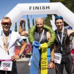 Vansbro Triathlon. Topp tre herrar olympisk distans. 1. Marcus Ekström, 2. Mattias Edvardsson, 3. Jonathan Hugemark. Fotograf: Mickan Palmqvist