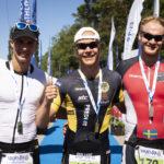 Vansbro Triathlon. Topp tre herrar medeldistans. 1. Martin Fredriksson, 2. Magnus Olander, 3. Jakob Karlsson.