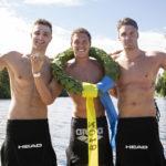 Topp-3 herrsegrare i Vansbrosimningen 2018 2a Simon Wanna, 1a Diogo Villarino och 3a Kristian Kron. Fotograf: Mickan Palmqvist