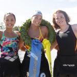 Topp-3 damklass Vansbrosimningen 2a Samantha Arevalo, 1a Caroline Jouisse och 3a Sara Bosslet. Fotograf: Mickan Palmqvist